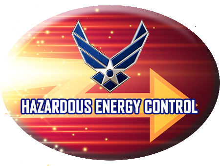 Hazardous Energy Control red button with Air Force Wings