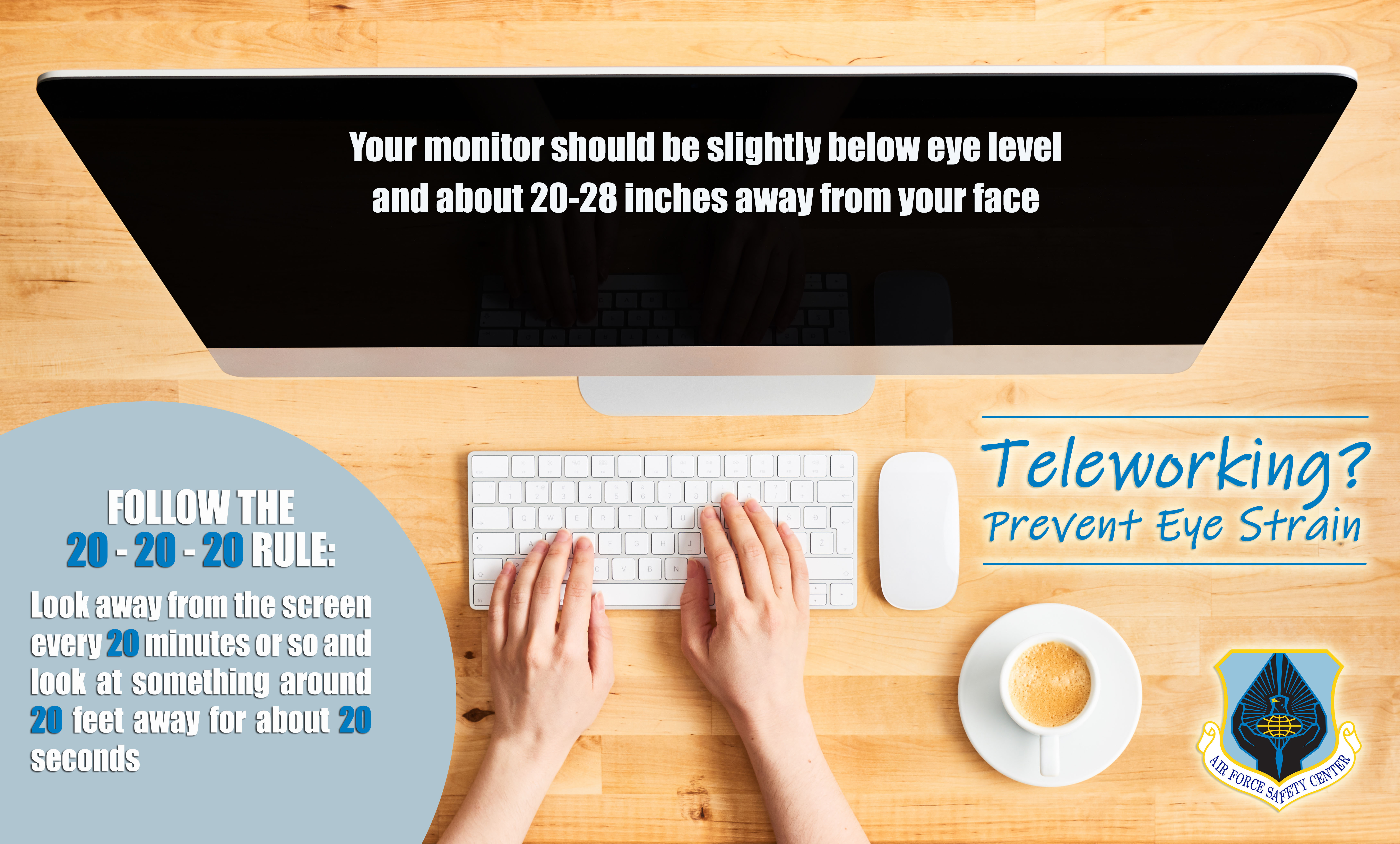 Teleworking - Prevent eye strain poster