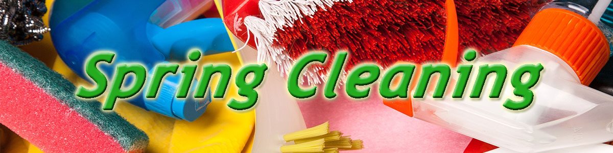 Spring Cleaning Banner - cleaning supplies